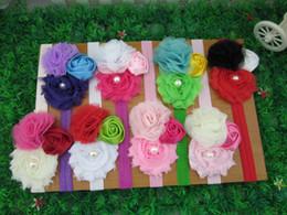 Wholesale Chevron Flowers For Headband - Hot baby headband,chevron flower head band for baby, baby hair accessories,kids hair band, children headbands,24pcs lot