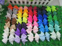 Wholesale Baby Hair Clips Ribbon - 3.5 inch high quality grosgrain ribbon hair bows,children hair accessories,baby hairbows girl hair bows WITH CLIP,64pcs lot