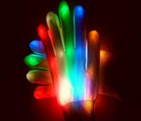 guantes de navidad iluminados al por mayor-2017 nueva 1 par novedad LED parpadeante guantes colorido dedo guante de luz decoraciones del partido de halloween navidad envío gratis