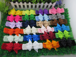 Wholesale Crochet For Hair Bows - wholesale 3.5inch ribbon hair bow with crochet baby headband,headband for kids,children hair accessories.48pcs lot free shipping