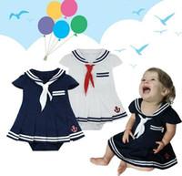 Wholesale Baby Girls Navy Clothes - Children's clothes, baby romper, girls cute summer 2-color short-sleeved navy shape Romper leotard dress, 3 pcs lot, dandys