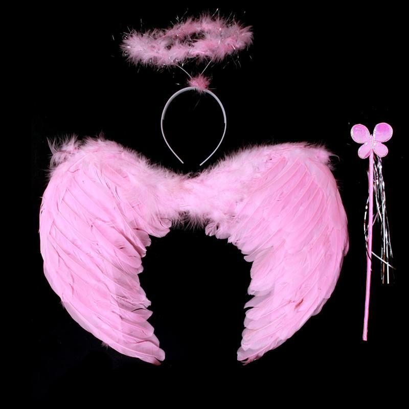Halloween-Kostümstütze-Federengelsflügel-Fee Stockflus Girlande-Partyzubehör Halloween-Geschenkkind führen Kleid durch
