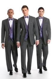 Boy Beige vest online shopping - Custom made NEW Groom Tuxedos Wedding Groomsman Suit Groomsman Bridegroom Suits Jacket Pants Tie Vest Boy Suit fashion ivory