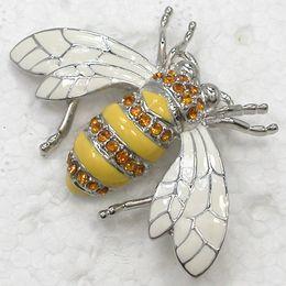 Wholesale Rhinestone Bee Brooch - 12pcs lot Wholesale Crystal Rhinestone Enameling Brooch Honey Bee Brooches Fashion Costume Pin Brooch jewelry gift C709