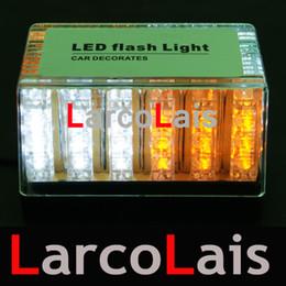 Wholesale Led Roof Amber - 8 colors 48 LED 12V EMS Light Car Roof Flash Strobe Magnets Emergency Shell Flashing Lights 48LED