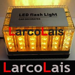 Roof Magnet Canada - Amber 48 LED Light 12V Car Roof Flash Strobe Magnets Emergency Shell Flashing Lights 48LED EMS Light