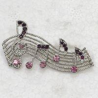 broches de notas musicales al por mayor-Comercio al por mayor C279 D Purple Crystal Rhinestone nota musical Pin Broo Fashion joyería regalo