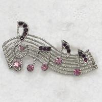 ingrosso spille di note musicali-Commercio all'ingrosso C279 D Rhinestone di cristallo viola nota musicale Pin spilla regalo di gioielli di moda