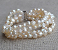 Wholesale Baroque Pearls Bracelets - Pearl Bracelet 4 Rows 8 Inches 6-7mm Ivory Freshwater Baroque Pearl Bracelet , Natural Pearl Jewelry , Wedding Party Bracelet, Free Shipping