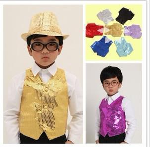 Crianças Meninos Meninas Crianças colete de lantejoulas trajes desempenho roupas