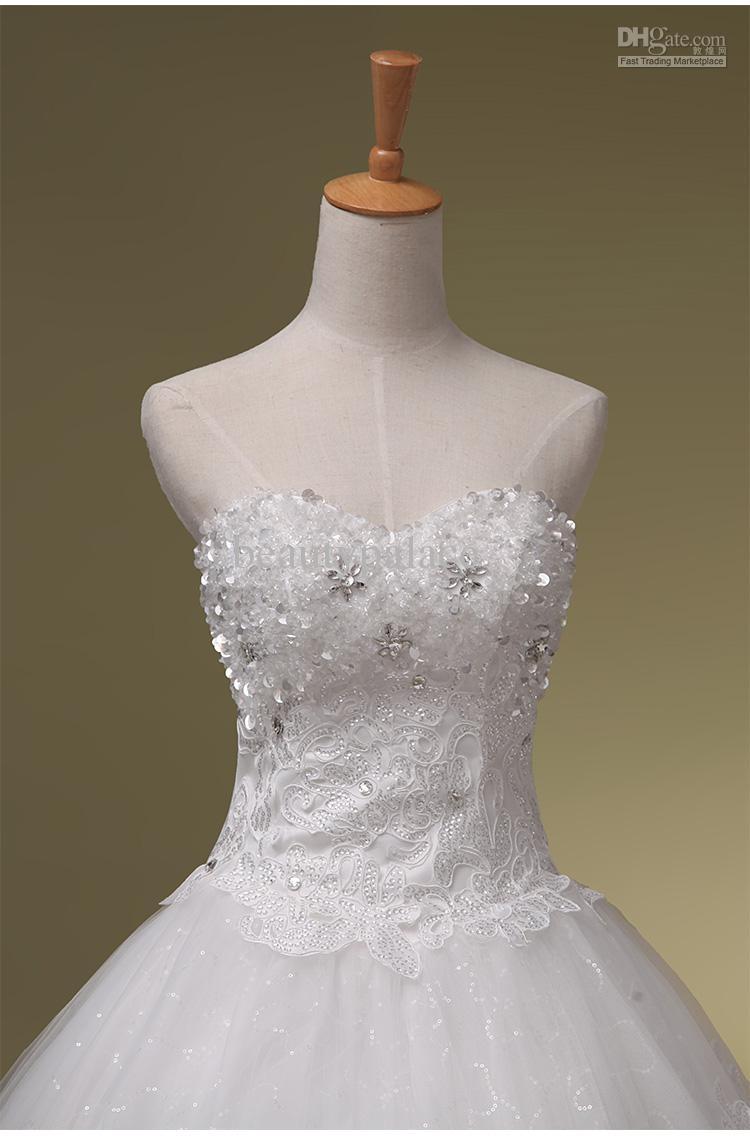 新しい到着2016ボールガウンの恋人の床の長さの白いオーガンザのアップリケ結婚式のドレスの結婚式のドレス