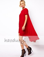 Wholesale Trumpet Mermaid Mini Dresses - Free shipping Sweet dovetail type swing short sleeve dress in 3 colors