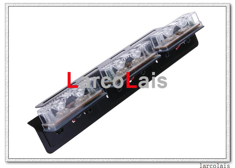Amber White 2 x 6-led wskaźnik Miga Flash Strobe Emergency Grille Car Truck Light Lights 6 LED