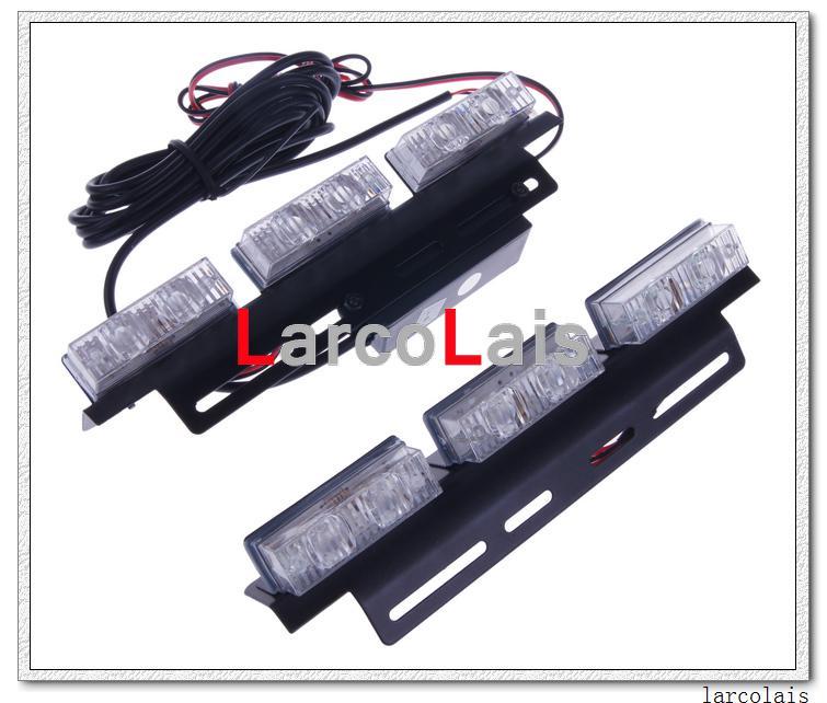 새로운 호박색 흰색 2 x 6-LED 표시 등 깜박임 플래시 스트로브 긴급 그릴 자동차 트럭 표시 등 6 LED