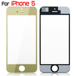 Iphone Touch Screen Digitizer Glass Canada - For iPhone 5 5G 5th Plated Metal Front Outer Glass Lens Screen Digitizer Touch Panel Screen Cover Gold Silver High Quality