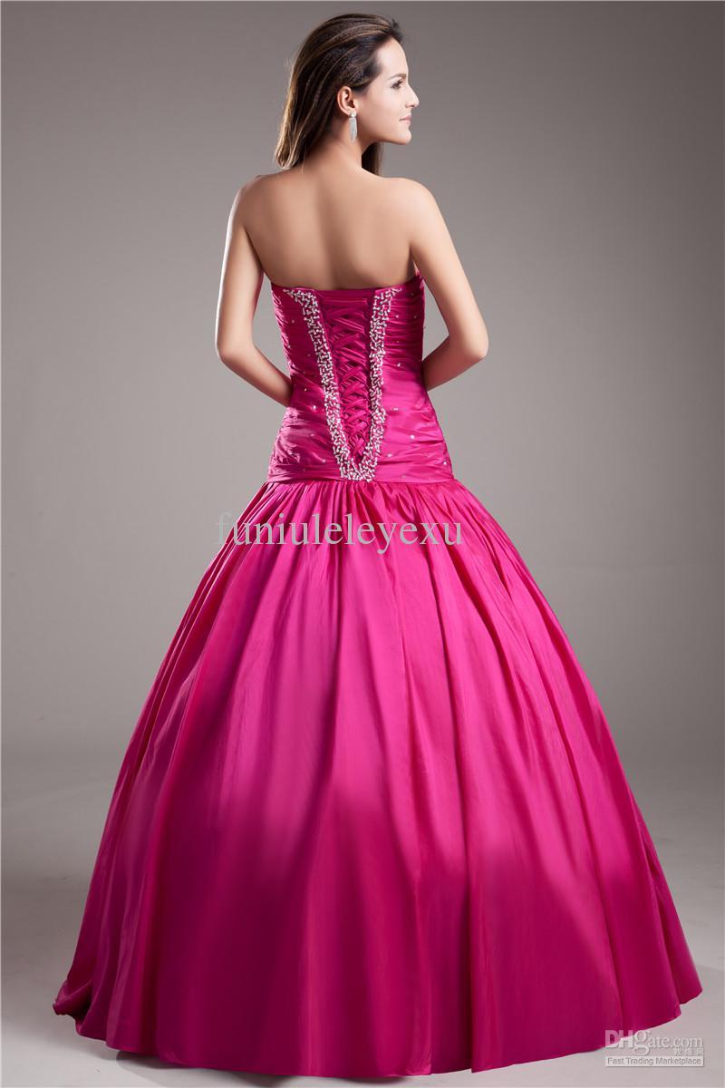 セクシーなボールガウンの恋人のノースリーブの床の長さホットピンクのタフタのスパンコール長い正式なQuinceaneraイブニングガウンウエディングドレス送料無料