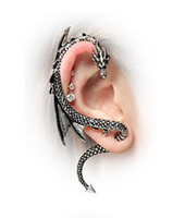 Wholesale Ear Bronze Punk - Vintage Gothic Punk Ear Hooks Ancient Silver & Bronze Simple Style Dragon Ear Cuff Christmas Gift OE0143