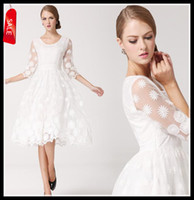 Wholesale White Line Ball Gowns - 2014 White Bridemaid Wedding Dress Women's Organza Lace A-line Prom Dress White Ball Gowns Size S M L