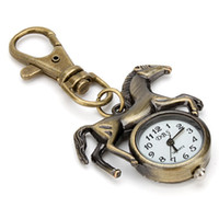 Wholesale watch animals for sale - Group buy Fashion Men Women Horse Pendant Keychain Key Ring Quartz Pocket Watch Bronze Pendant Vivid Running Cute Animal Quartz Analog Pocket Watches
