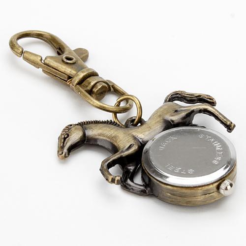 Moda Hombre Mujer Caballo Colgante Llavero Llavero de Cuarzo Reloj de Bolsillo Bronce Colgante Vivid Corriendo Lindo Animal de Cuarzo Analógico Relojes de Bolsillo