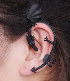 Wholesale Black Dragons Earrings - Lot Gothic Punk Temptation Metal Bronzed And Black Dragon Bite Ear Cuff Wrap Clip Earring 79174