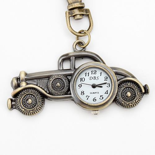 Bronze Antique Car Quartz Pocket Key Chain Ring Watch Pendant Keychain Ring DBS Keyring Analog Classic Automotive Automobile Shape Pendant
