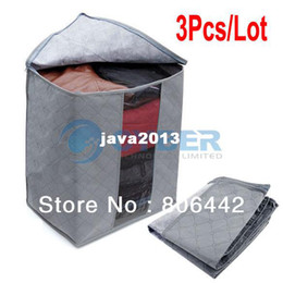 Wholesale Clothes Bags Cheap Wholesale - Cheap 3Pcs Lot Foldable Bamboo Charcoal Home Storage Bag Box For Clothes Quilt Storage Bags Case Free Shipping 9841