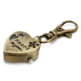 Wholesale Copper Clocks - Unique Retro Vintage Keyring Keychain Key Chain Ladies Womens Mens Pocket Watch Love Heart Shape OPEN YOUR HEART TO YOU Love Watches Clip