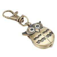 relojes de bolsillo de aves antiguos al por mayor-Night Owl llavero reloj de pulsera para hombres mujeres bolsillo deporte analógico cuarzo Antique Open Wings Lovely Bird Animal llavero Relojes Mujeres Hombres Clip