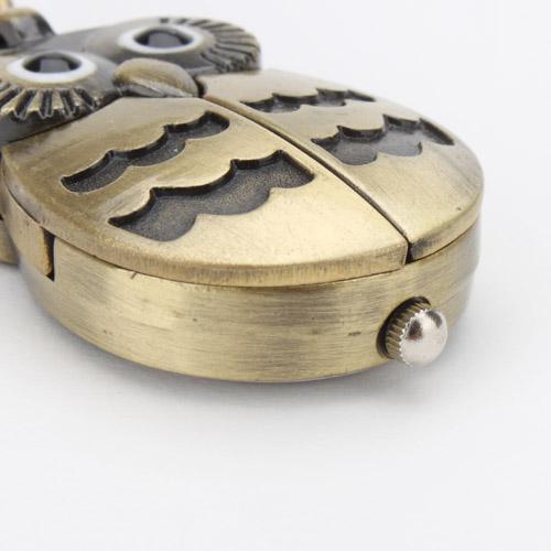 Night Owl Keychain Ring Watch uomo donna Pocket Sport analogico al quarzo Ante antiche aperte Lovely Bird Animal Portachiavi Orologi Donna Uomo Clip