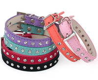 Wholesale Leather Cat Collars Rhinestones - Puppy Dogs Collar Bell Rhinestone PU Leather Cat Supply Collars Pet Neck Strap G475
