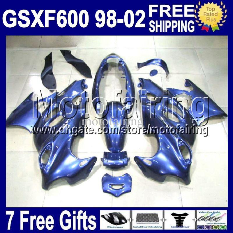 7cambios para SUZUKI KATANA 98-02 GSX600F 1998 1999 2000 2002 GSXF 600 ALL Azul GSX 600F CL1385 GSXF600 98 99 00 01 02 brillo azul Fairing Ki