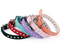 Wholesale News Dogs - Wholesale - Free shipping 2013 lefdy news genuine leather small dog collars with rhinestones of pet products