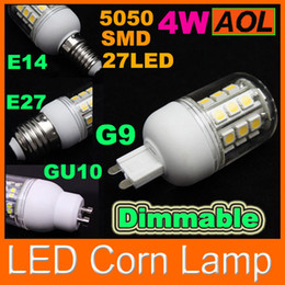 Wholesale G9 Led Dimmable 4w - High Quality 4W Dimmable LED Corn Bulb 27 LED 5050 SMD with Cover E27 G9 E14 GU10 360 degree 400LM Home Lamp 110V-220V energy saving Light