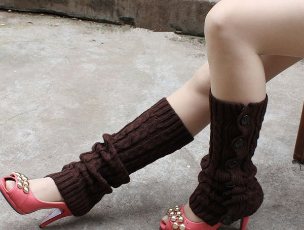 2015 button down twist Knitted Leg Warmers Stocking Socks Boot Covers Leggings Tight 20 pairs/lot mixed colors #3424