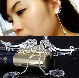 Wholesale Angels Clips - Fashion personality angel wings no pierced earrings ear clip ear bones clip free shipping Korean newest creative jewelry LM-C147