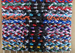 Wholesale Ge Titanium Necklaces - Promotion - 350PCS Lot Mix 16 designs Baseball Sports Titanium 3 Rope Braided GE Necklace RT096