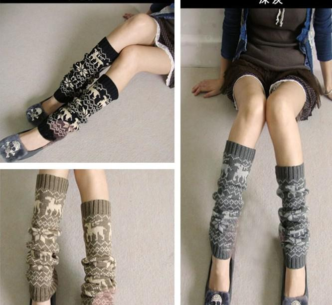 Autumn winter deer Christmas Knitted Leg Warmers Stocking Socks Boot Covers Leggings Tight mixed colors #3427