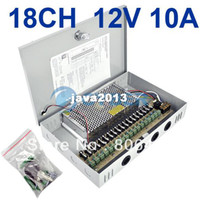 Wholesale Cctv Ch Camera - Free Shipping 18 Channel CH CCTV CCD Security Regulated Camera Power Supply Box 12V 10A 2953