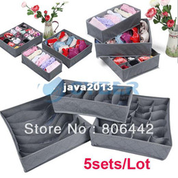 Wholesale Storage Boxes For Underwear - 5sets Lot (3 Pcs Set) Foldable Bamboo Charcoal Organizer Storage Box Set For Bra Underwear Tie Socks Free Shipping 9843