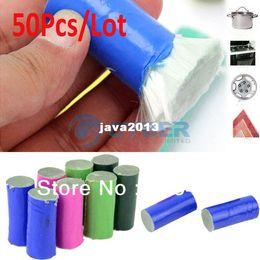 Wholesale Toilet Pot - Wholesale 50Pcs Lot Stainless Steel Rod Magic Stick Metal Rust Remover Cleaning Stick Wash Brush Pot 18333