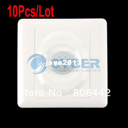 Wholesale Light Switches Motion Sensors - Wholesale 10Pcs Lot AC 180-240V Infrared Save Energy Motion PIR Sensor Automatic Light Switch White TK0524