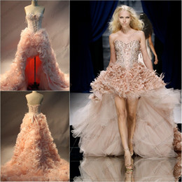 Wholesale Hi Low Feather Gown - 2016 Zuhair Murad Blush Organza Ostrich Feather High Low Celebrity Evening Dresses Beaded Appliques Lace up Corset Prom Gowns Sale