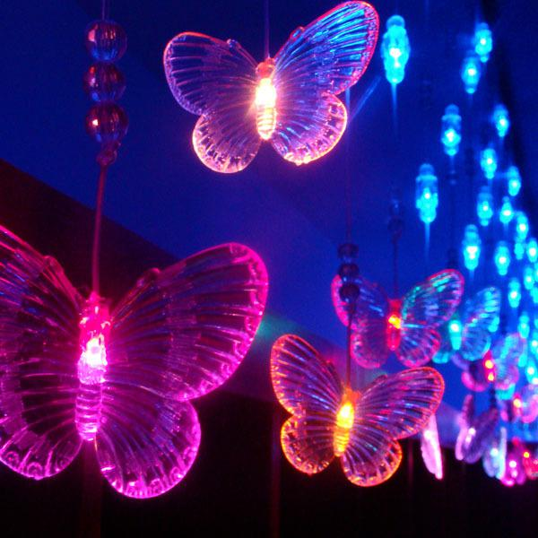 cheap 96 led lights 4m065m ornament curtain window decoration butterfly beads icicle light strip blue string