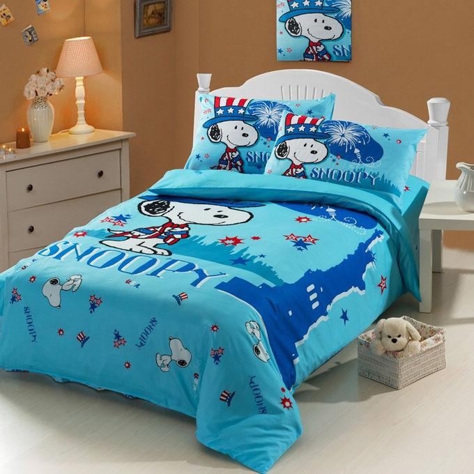 Blue Snoopy Baby Boy Girl Cartoon Kids Duvet Cover Sheet Set Cotton