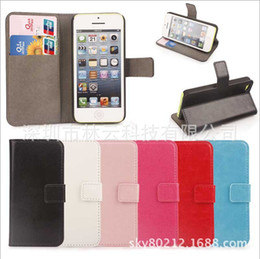 Wholesale Christmas Iphone 4s Covers - Christmas Flip wallet cases PU stand holder Crazy Horse Case cover skin with credit card for iphone 4 4S 5 5S 5C iphone5C free shipping