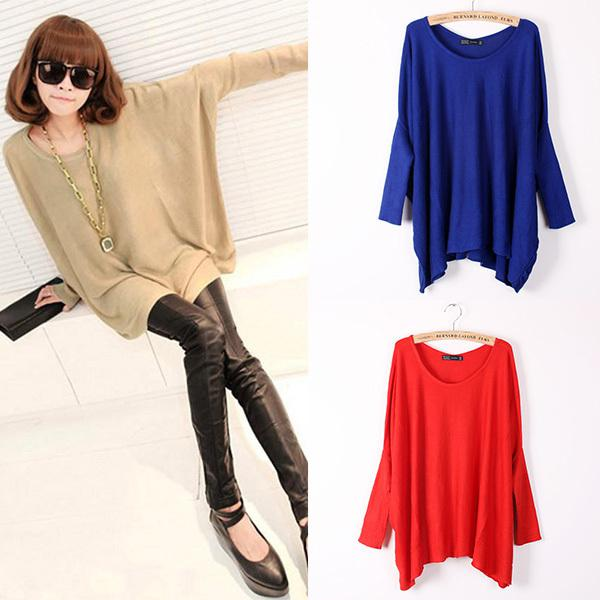 Best Women Top Oversized Layering Tunic Knit Sweater Sleeve Free ...