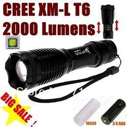 Wholesale X Zoom Flashlight - 1pcs USA EU Hot Sel E007 CREE XM-L T6 2000Lumens 5 Mode Zoom LED Flashlight Torch For 3 x AAA or 1 x 18650 - Free shipping