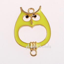 Wholesale Owl Bead Enamel - Free Shipping 30 Pcs lot Gold Plated Enamel Owl Charm Beads For Bracelet Making OMC-051H