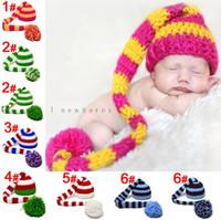 neugeborene häkelarbeit weihnachten hüte großhandel-10 STÜCKE 6 Farben Infant Neugeborenen Häkelarbeit Strickmütze Mädchen Jungen Langen Schwanz Beanie Wolle Hut Kappe Kinder Weihnachten Hüte foto prop